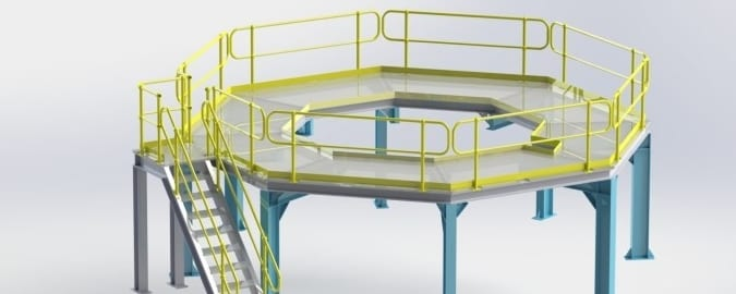 Access Platforms With Yellow Safety Railings